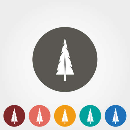 treetop: Spruce, christmas tree. Icon for web and mobile application. Vector illustration on a button. Flat design style.