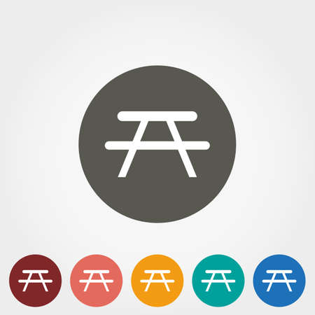 seated: Camping table. Icon for web and mobile application. Vector illustration on a button. Flat design style.