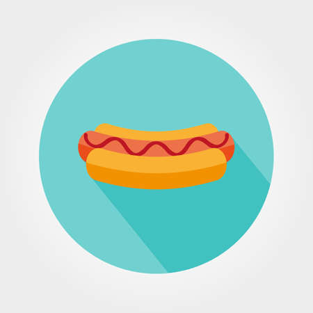 hot dog label: Hot dog. Icon for web and mobile application. Vector illustration of a button with a long shadow. Flat design style.