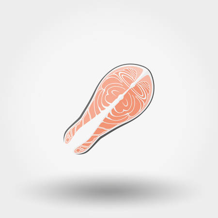 fish steak: Fish steak icon for web and mobile application. Vector illustration on a white background. Flat design style.
