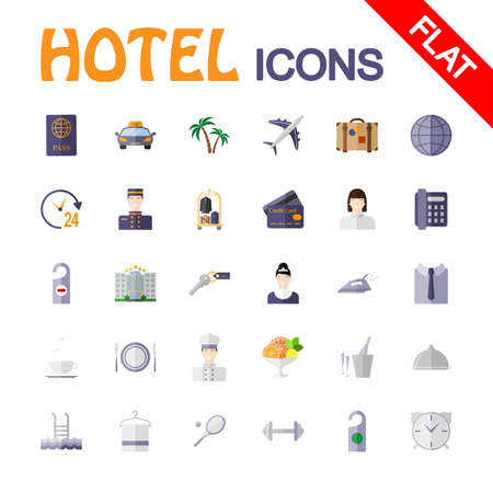hotel service: Hotel service. Icon set for web and mobile application. Vector illustration on a white background. Flat design style.