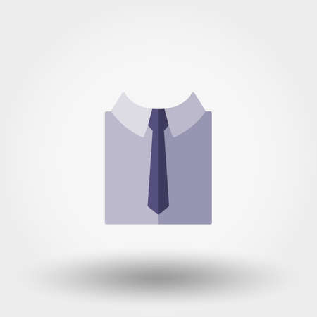 Shirt with nectie. Icon for web and mobile application. Vector illustration on a white background. Flat design style.