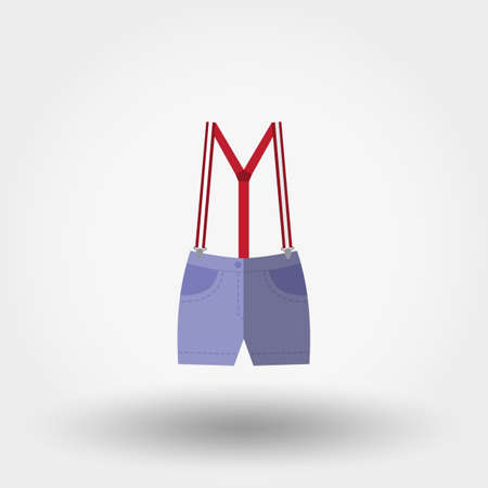 children clothing: Shorts with suspenders. Icon for web and mobile application. Vector illustration on a white background. Flat design style.