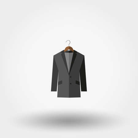 blazer: Jacket on a hanger. Icon for web and mobile application. Vector illustration on a white background. Flat design style.