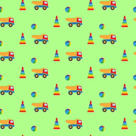 for boys: Toys for boys. Seamless pattern. Vector illustration. Swatch inside