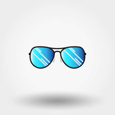 eyewear fashion: Sunglasses. Icon for web and mobile application. Vector illustration on a white background. Flat design style. Stock Photo
