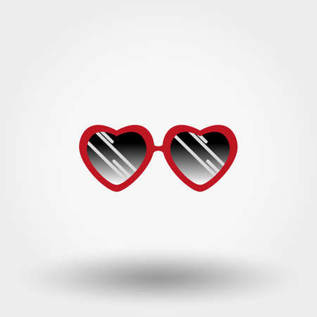 Heart Sunglasses. Hipster fashion. Icon for web and mobile application. Vector illustration on a white background. Flat design style.
