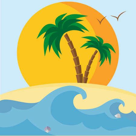 Palmen, Strand, Muscheln, Sonnenuntergang und Wellen. Vektor-Illustration. Es kann als Karte oder Banner verwendet werden.
