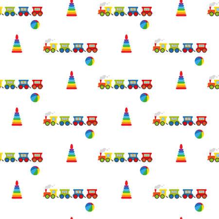 fondo para bebe: Pyramid, ball and locomotive. Seamless pattern. Vectores