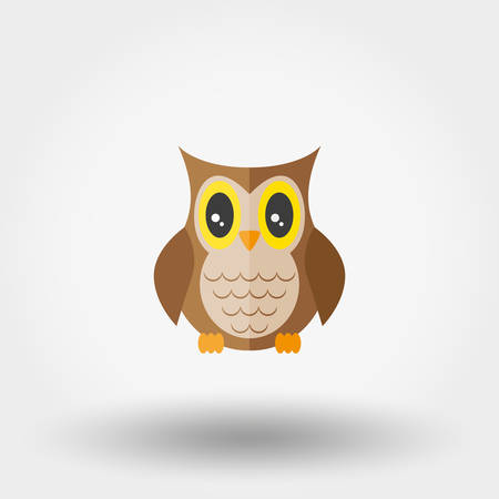 Owl. Stuffed toy. Icon for web and mobile application. Vector illustration on a white background. Flat design style. Illustration