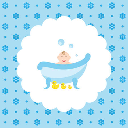 rubber ducks: Baby in the bath with a rubber ducks. Flat vector illustration on floral pattern. Can be used for design greeting card, invitation or banner. All the elements can be used as icons for mobile applications or logos.
