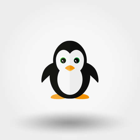 Penguin. Stuffed toy. Icon for web and mobile application. Vector illustration on a white background. Flat design style. Illustration