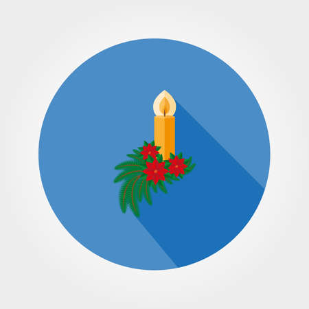 Christmas candle decorated with fir twigs and poinsettia. Icon for web and mobile application. Vector illustration on a button with a long shadow. Flat design style. Illustration