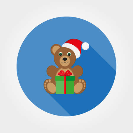 Teddy bear in a cap of Santa Claus. Icon for web and mobile application. Vector illustration on a button with a long shadow. Flat design style.
