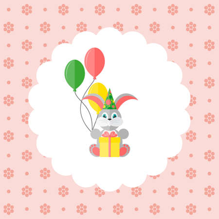 Bunny in cap with balloons and gift. Flat vector illustration on floral pattern. Can be used for design greeting card, invitation or banner. All the elements can be used as icons for mobile applications or logos