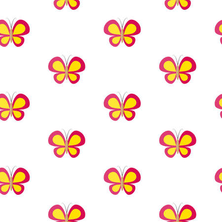 butterflies for decorations: Butterfly. Vector seamless pattern. Flat design style. Swatch inside Illustration