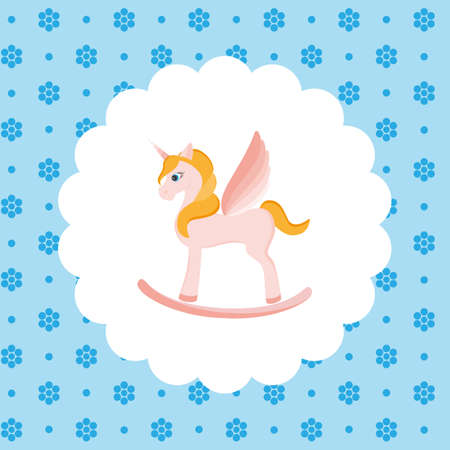 foal: Rocking Horse Unicorn. Flat vector illustration on floral pattern. Can be used for design greeting card, invitation or banner. All the elements can be used as icons for mobile applications or logos