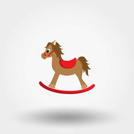 Rocking horse. Baby toy. Icon for web and mobile application. Vector illustration on a white background. Flat design style.