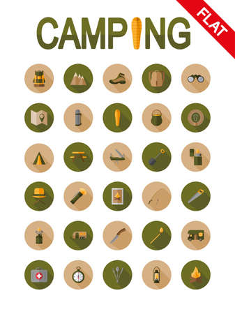 clasp knife: Camping. Icon set for web and mobile application. Vector illustrations on a buttons with a long shadow. Flat design style. Illustration