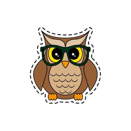 Owl with glasses. Vector illustration. Illustration