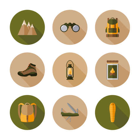 Hiking mountain. Icon set for web and mobile application. Vector illustration on a white background. Flat design style.