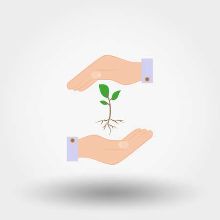Sprout in a hand. Sign of environmental protection. Icon for web and mobile application. Vector illustration on a white background. Flat design style