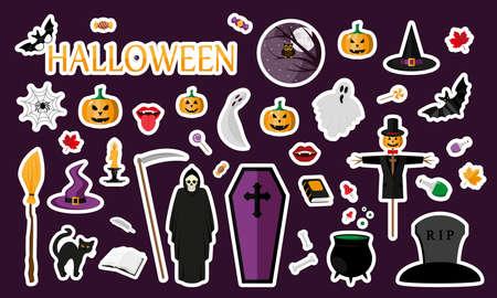 Halloween. Stickers. Flat Illustration
