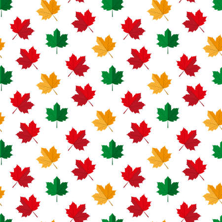 Autumn maple leaves in seamless pattern illustration on a white background. Illustration