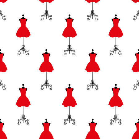 textile industry: Tailor mannequin in red dress in seamless pattern illustration on a white background in flat design style. Illustration