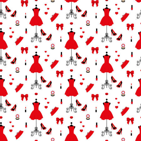 Vintage mannequin in a red dress, high heels, clutch bag, powder, lipstick, nail polish in seamless pattern illustration on a white background in flat design style.