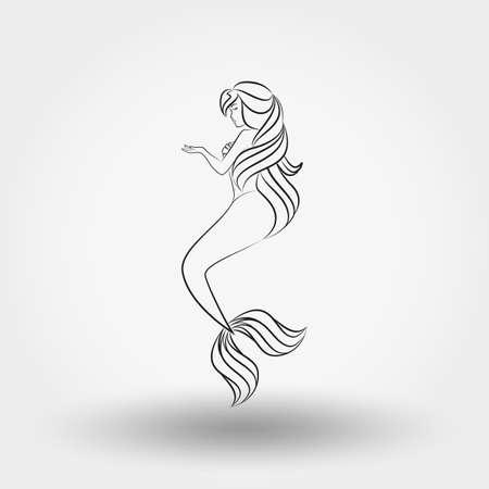 Mermaid. Art line Illustration