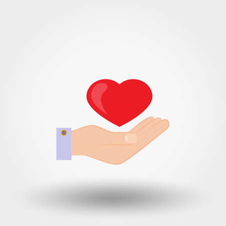 Heard in a hand. Charity, mercy. Icon for web and mobile application. Vector illustration on a white background. Flat design style. Imagens - 91107212