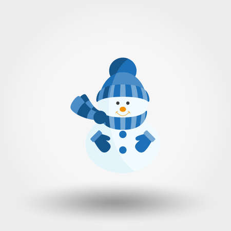 Snowman in a knitted hat, scarf and mittens. Icon for web and mobile application. Vector illustration on a white background. Flat design style. Stock Photo