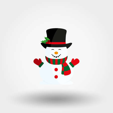 Snowman in hat, scarf and mittens. Icon for web and mobile application. Vector illustration on a white background. Flat design style.