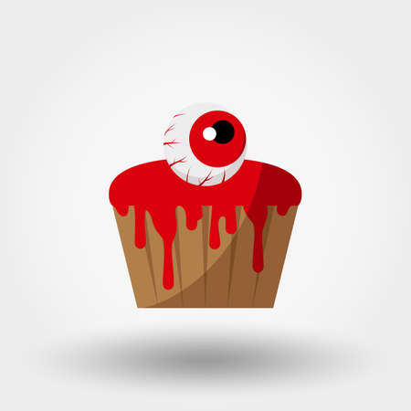 Halloween cupcakes with an eye and bloody icing Illustration