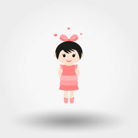 Lovely girl. Valentine S Day. Icon for web and mobile application. Vector illustration on a white background. Flat design style.