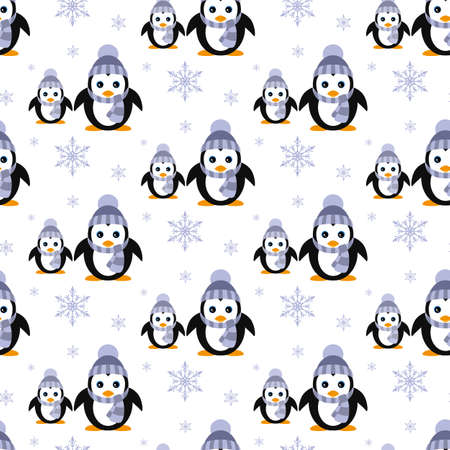 Penguins in a knitted hat. Snowfall. Seamless pattern.  Flat Vector illustration. Vectores