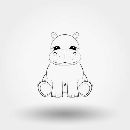Hippo baby icon. Vector art Line.