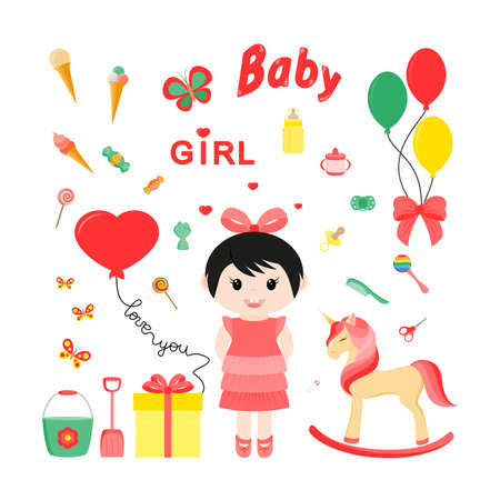 Baby icons for girls with toys. Unicorn. Icon set for web and mobile application.