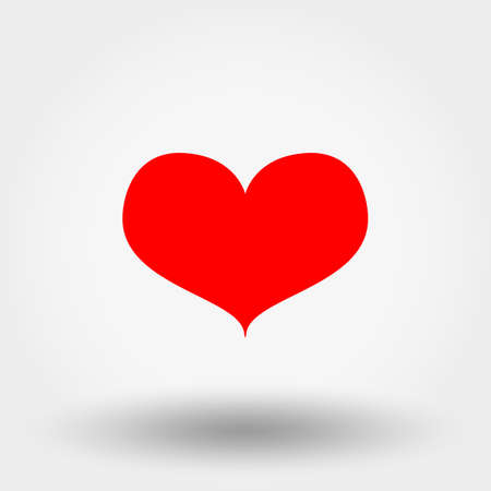 Red Heart. Icon. Vector. Flat.