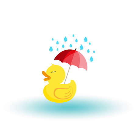 Rubber ducky with an umbrella in the rain. Icon. Vector. Flat.