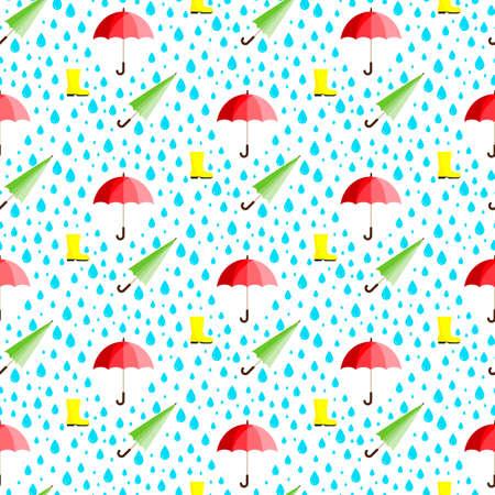 Rainwater Umbrella. Rubber boot. Rain. Seamless pattern.