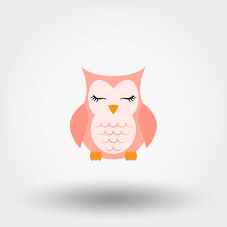 Sleeping owl. Icon. Vector. Flat.