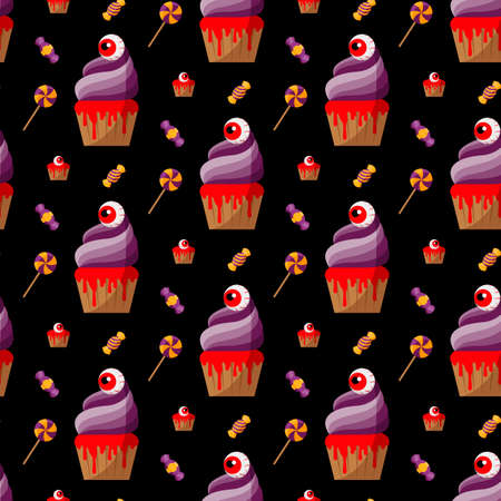 Halloween Spooky Cupcake. Vector illustration. Seamless pattern. Flat. Çizim