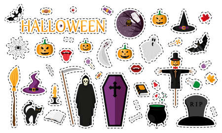 Halloween. Fashion patch badges with sweet pumpkins, ghosts and other elements. Set of stickers, pins, patches in cartoon 80s-90s comic style. Vector illustration isolated on white background.