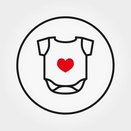 Baby bodysuit. Universal Icon. Vector. Thin line