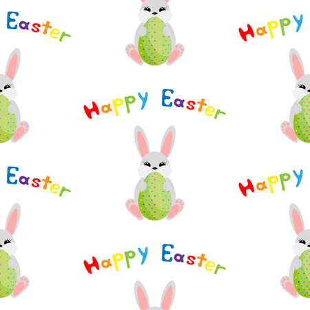 Easter bunny with egg. Seamless vector illustration. Ilustrace