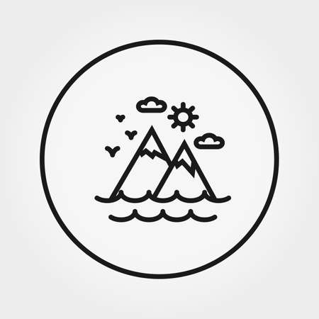 Mountains, sea, sun, clouds. Icon. Vector. Editable Thin line. Illustration