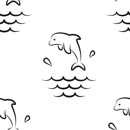 Dolphin Splashes. Pattern. Seamless vector illustration. Art Line. Flat.  イラスト・ベクター素材