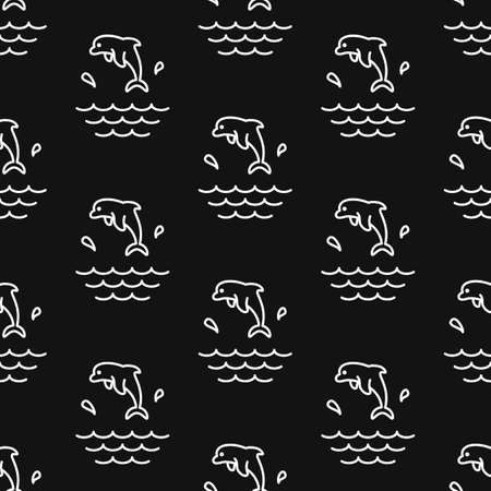 Dolphin Splashes. Pattern. Seamless vector illustration. Line. Flat. 写真素材 - 128900291